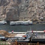 Touristenboote vorm Philae Tempel