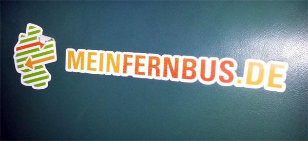 meinfernbus Logo im Bus